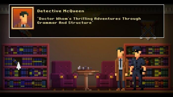 """Det. McQueen finds a book called """"Doctor Whom's Thriling Adventures Through Grammar and Structure"""""""