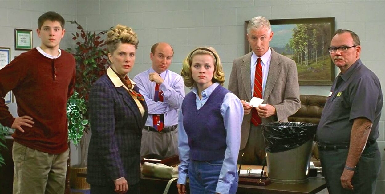 Tracy Flick and school staff confront Jim McAllister in the school principle's office