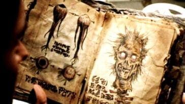 close up of an open book with yellowed pages depicting sketches of a ghoulish skull, disembodied eyeballs, and foreign script.