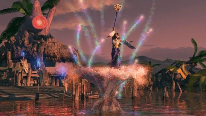 Yuna sends lost souls to the farplane in Final Fantasy X.