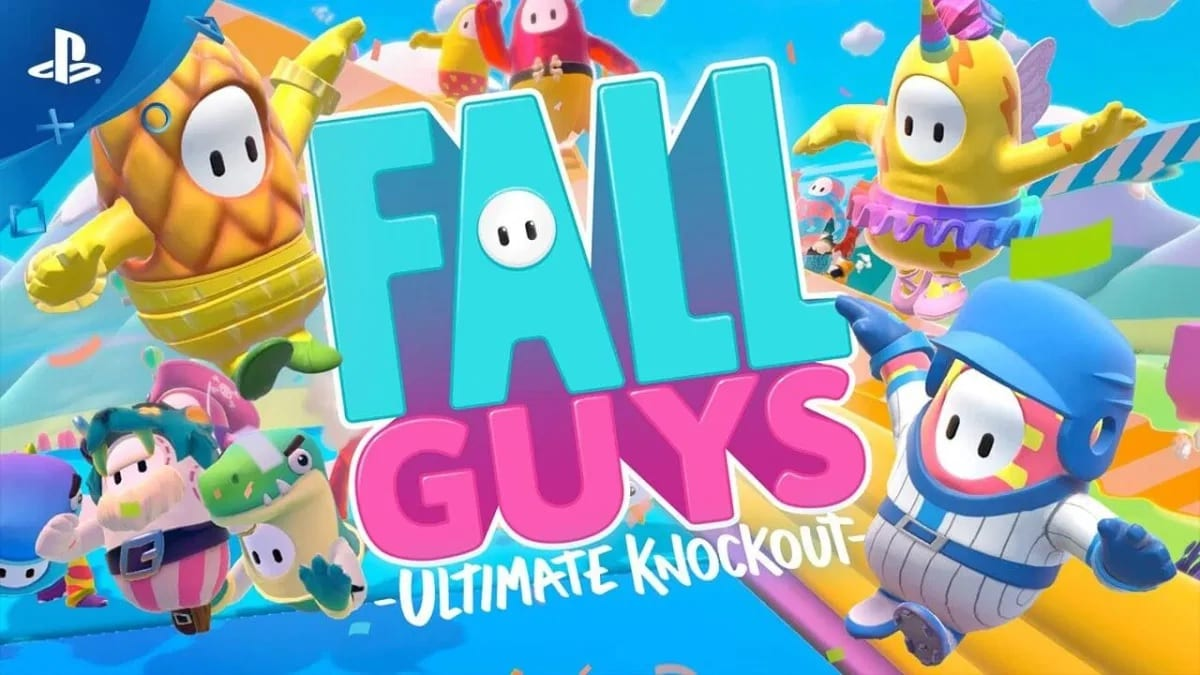 Fall Guys Ultimate Knockout title screen with Fall Guys