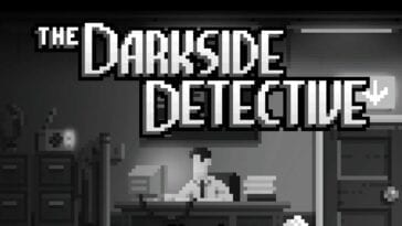 The Darkside Detective, Frank McQueen, sits at his desk. Black and white.