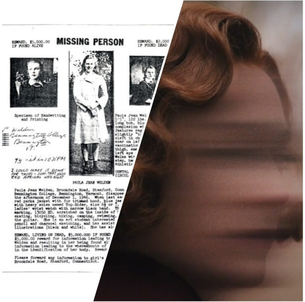 Composite image of missing student Paula Jean Welden and the blurred image of a young red-headed woman in the film 'Shirley'.