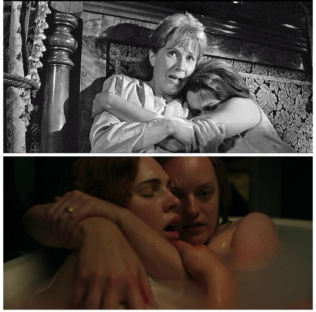 Composite image showing Theo (Claire Bloom) and Eleanor (Juile Harris) as well as Rosie (Odessa Young) and Shirley (Elisabeth Moss)embracing each other