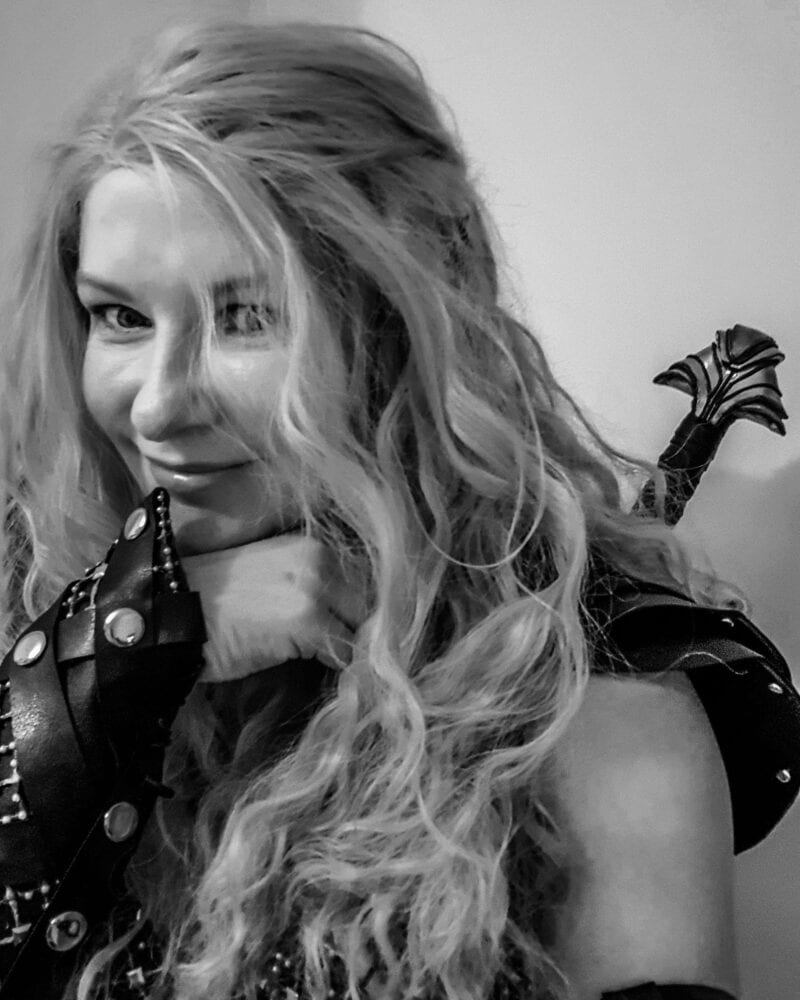 black & white headshot of a Callisto cosplayer