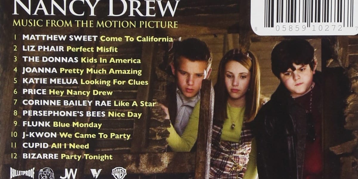 Nancy Drew Soundtrack Back of CD with track listings and picture of Emma Roberts with two costars