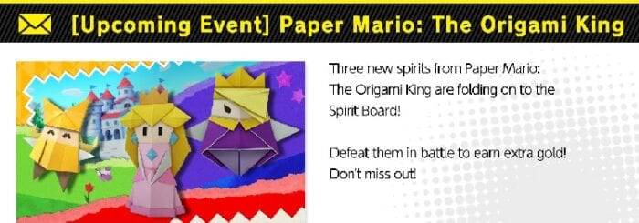 Three new spirits based on Paper Mario the Origami King will be available soon.