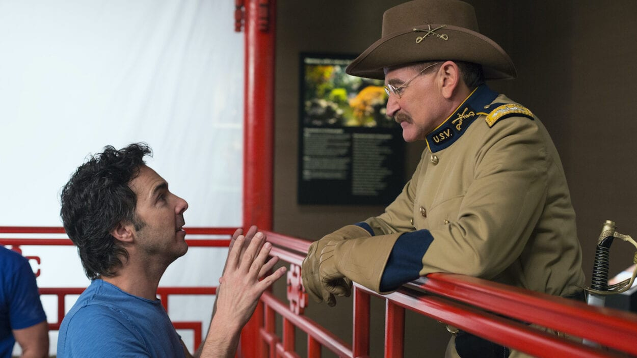 "Robin Williams in costume as Teddy Roosevelt on the set of ""Night at the Museum 3"" with director Shawn Levy."