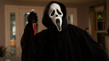 Ghostface wields his blade, ready to strike.