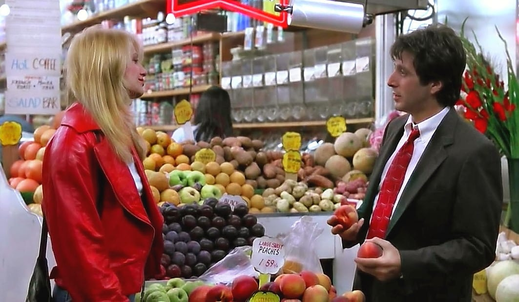 Frank Keller charms Helen Cruger at a New York grocery store