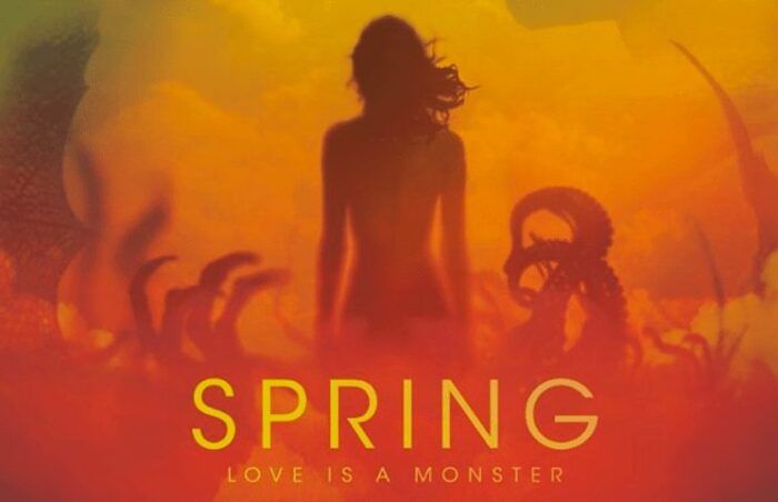 The Spring title card shows a woman in the center surrounded by claws and tentacles in an airy bright fog