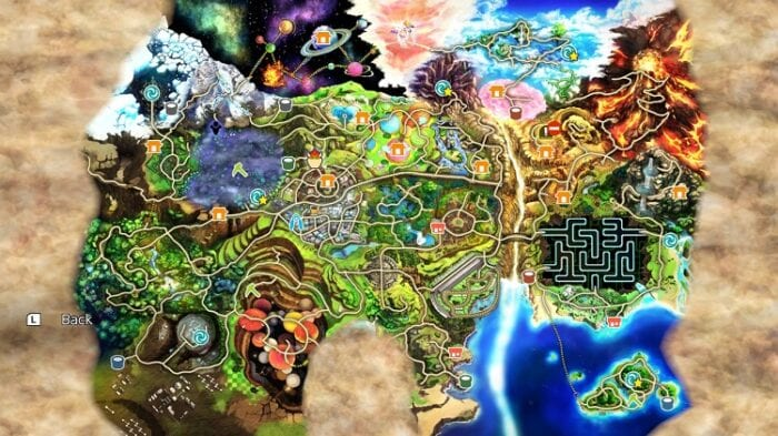 An expanded view of the World of Light map.