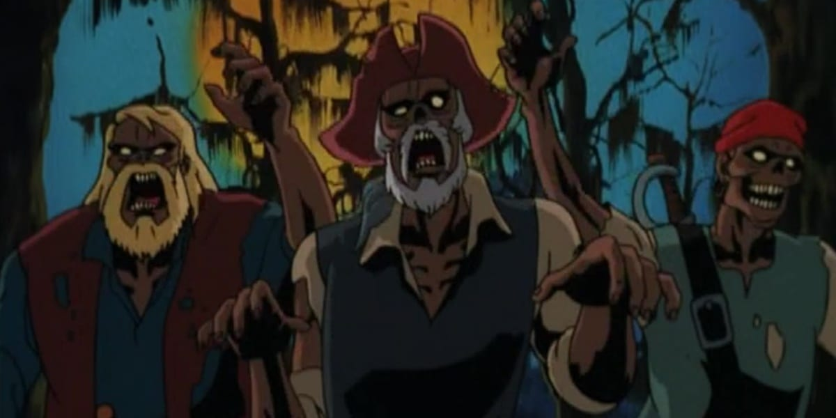 Zombies from Scooby Doo on Zombie Island with their mouths open and arms raised with trees and the moon in the background