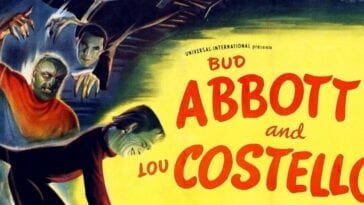 "The poster for the film, ""Abbott and Costello Meet Frankenstein"" (1948)."