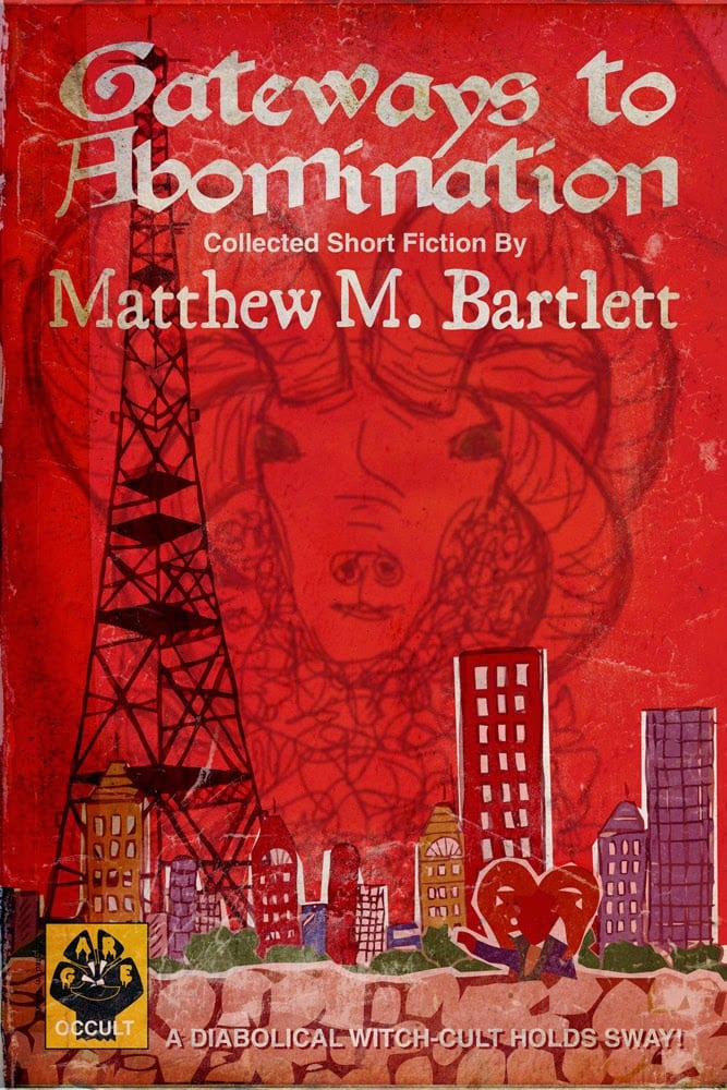 cover for the book gateways to abomination - a red cover with the faint image of a rams head in the sky over a city scape with a radio tower