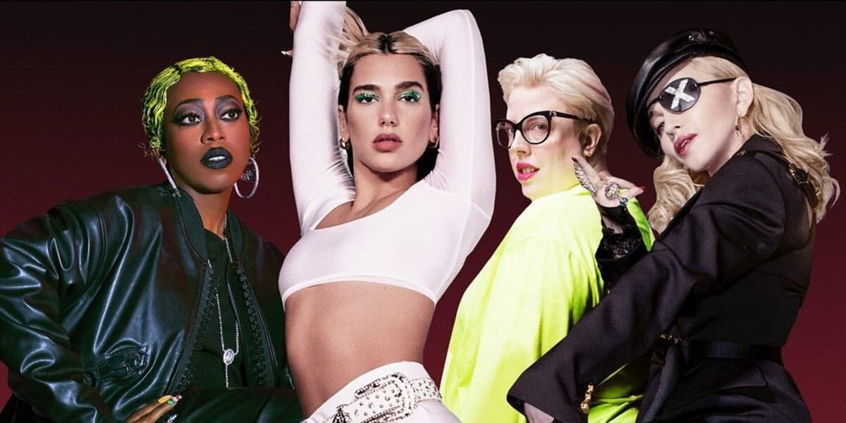 Dua Lipa and The Blessed Madonna's remix album Club Future Nostalgia (left to right) Missy Elliott, Dua Lipa, The Blessed Madonna and Madonna