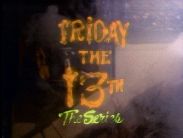 Friday the 13th the series is displayed on screen with a ray of light hitting it from the right side