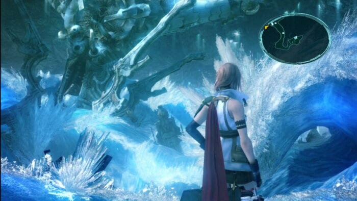 Lightning stands in a crystal cave