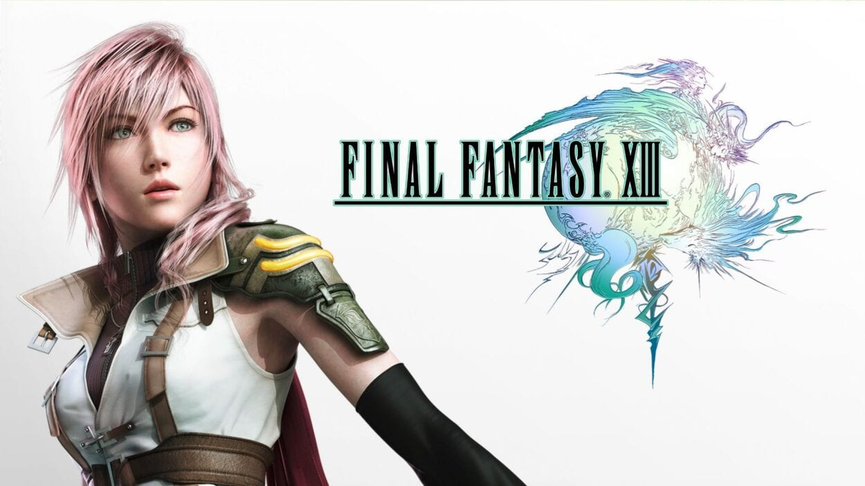 Title logo for Final Fantasy XIII, with Lightning looking off into the distance.