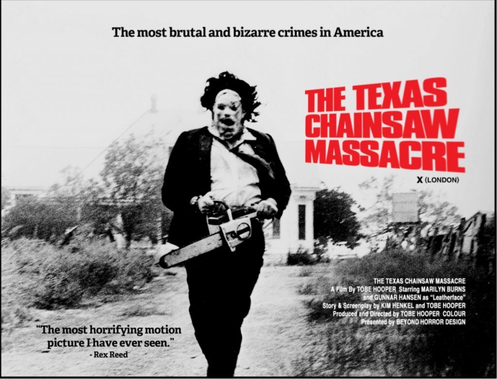 Poster for The Texas Chainsaw Massacre. Leatherface runs with his chainsaw in his hands.