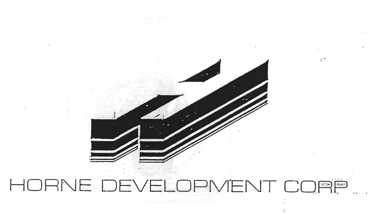 Horne Development logo: an H in a perspective that makes it look like an image of a building.