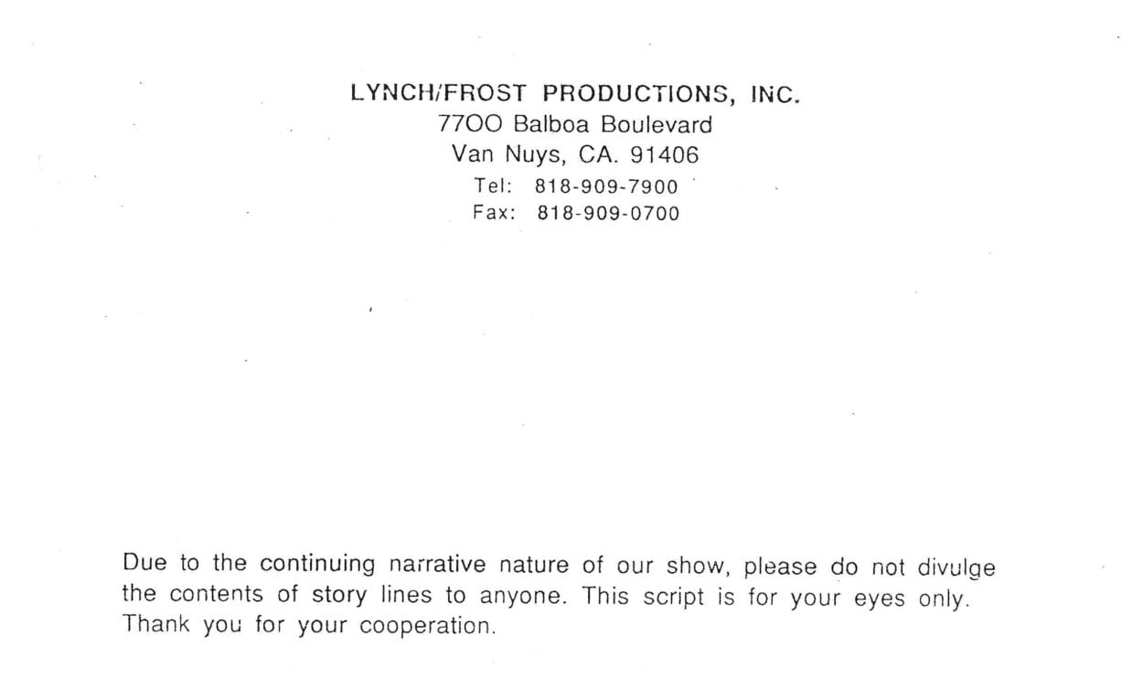 Lynch/Forst letterhead with a note about how to handle its contents.
