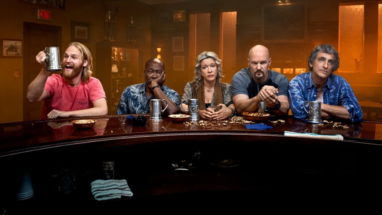 Dud, Ernie, Connie, Scott and Blaise at the Lodge 49 bar