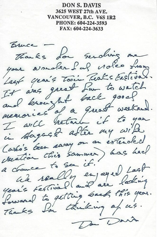 a letter of thanks in Don Davis' handwriting