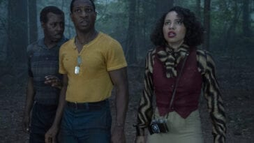 Tic, Leti, and Uncle George in the woods in Lovecraft Country