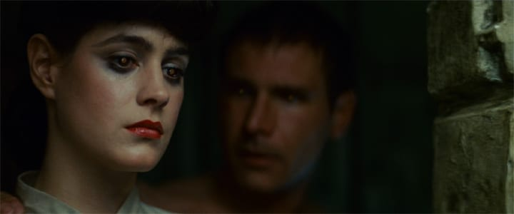 Sean Young and Harrison Ford as Rachel and Deckard in Blade Runner