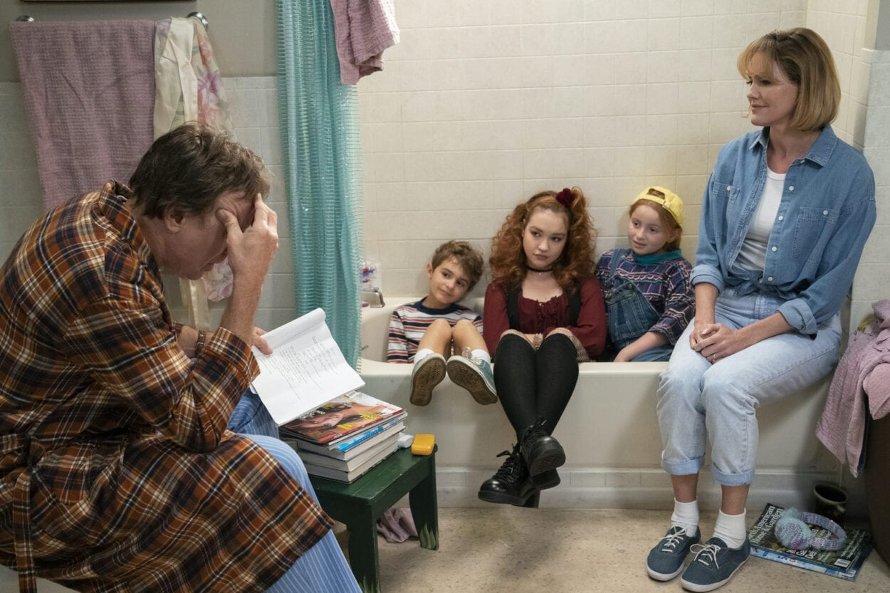 Harry and his family have a meeting in the bathroom