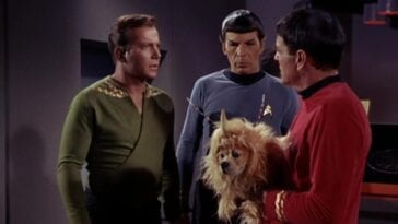 Kirk and Spock look at Scotty holding an alien creature