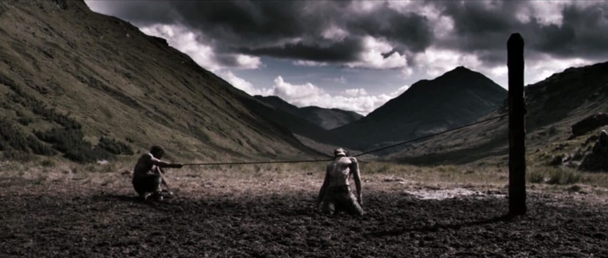 One-Eye (Mads Mikkelsen) executes a gladiatorial rival in Valhalla Rising (2009)