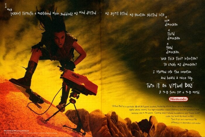 An advert for the Virtual Boy. A teenage boy stares in awe at the console in a desolate wasteland.