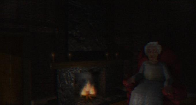 A creepy old woman sits in the dark by a fireplace.