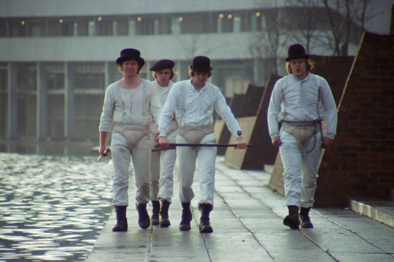 Alex and his Droogs walking their beat