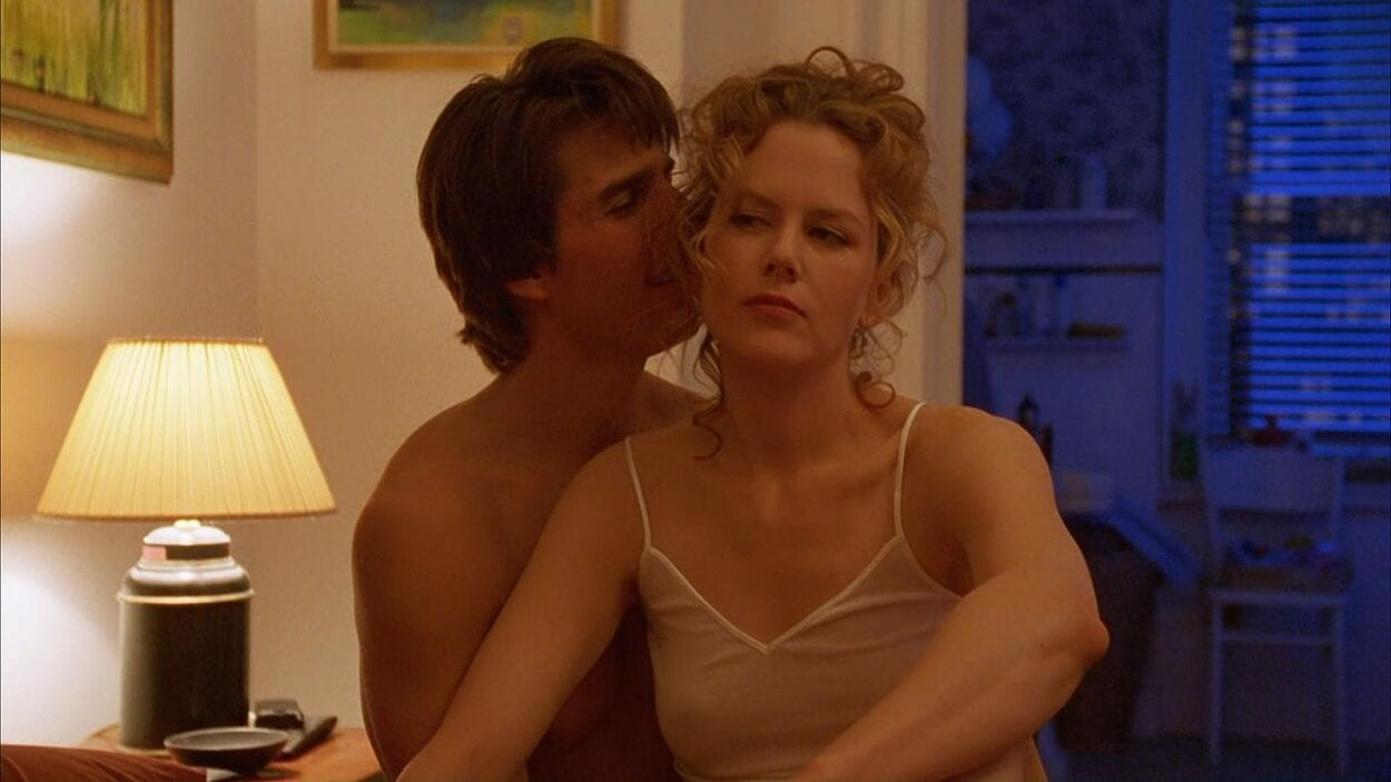 Kidman and Cruise sit on their bed in Stanley Kubrick's Eyes Wide Shut