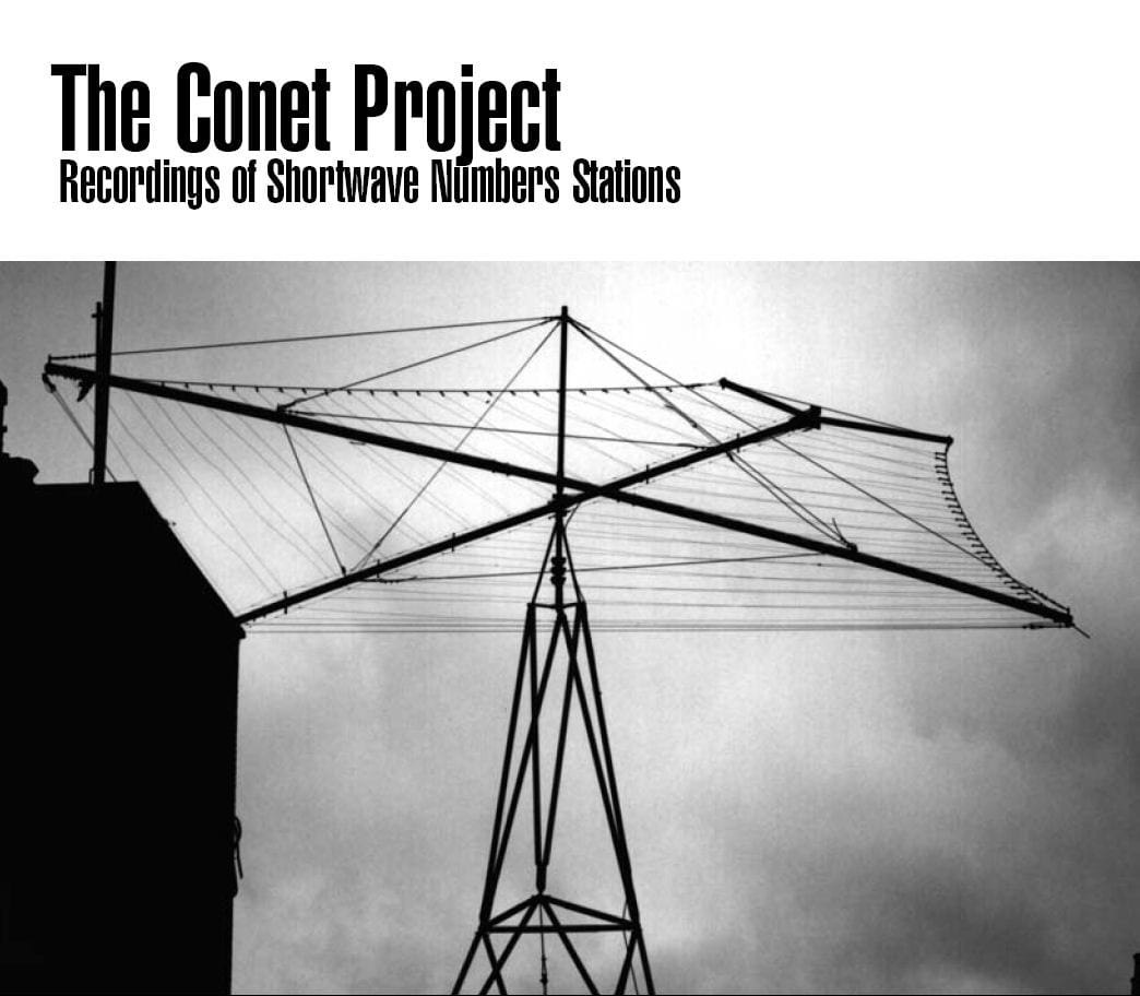 cover for the conet project numbers stations recordings showing an antenna array against a cloudy sky