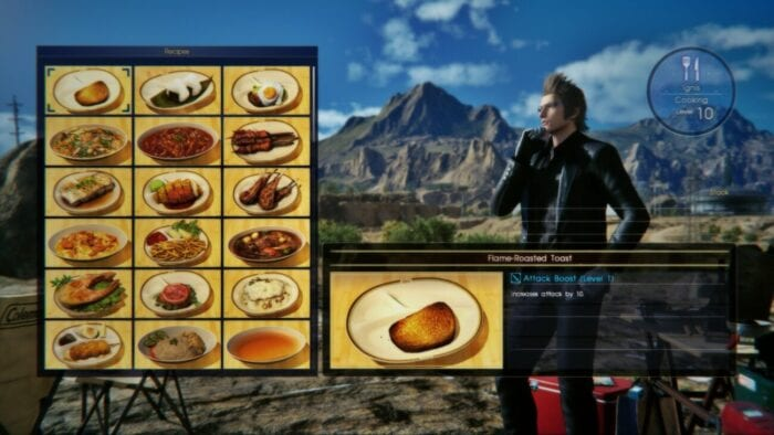 The player chooses food from a menu of meals to be prepared by Ignis