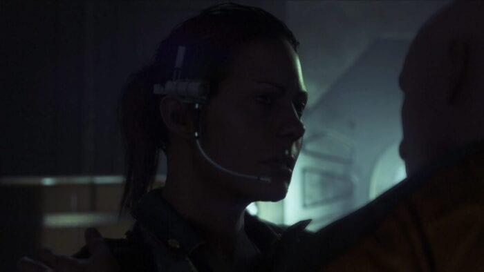 Amanda Ripley wearing a headset