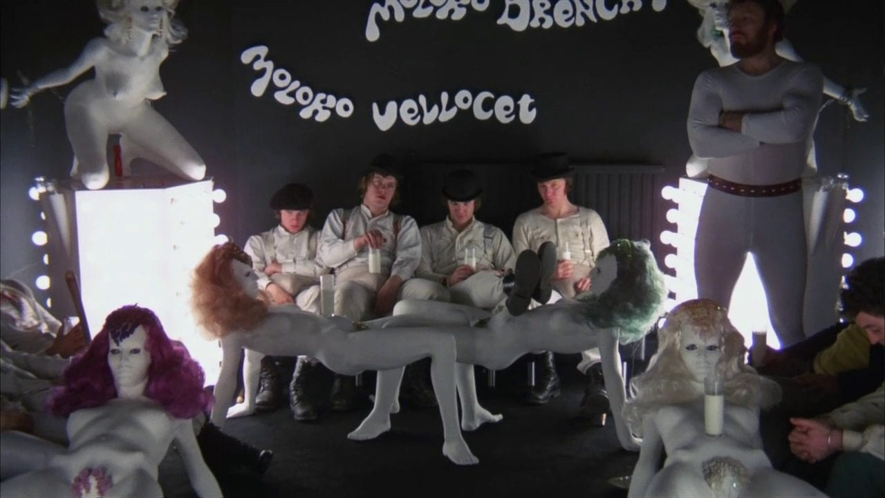 Alex and his Droogs relaxing at the Korova Milk Bar