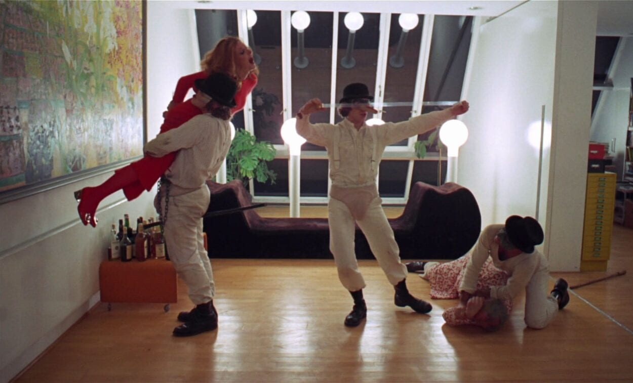 Alex and his droogs begin to attack Mrs. Alexander in Stanley Kubrick's A Clockwork Orange