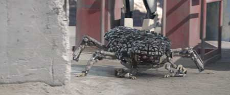 The Pilgrims creation (a bug like robot) comes out from its hiding place