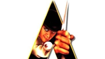 The iconic film poster of Alex in the A holding his cane knife