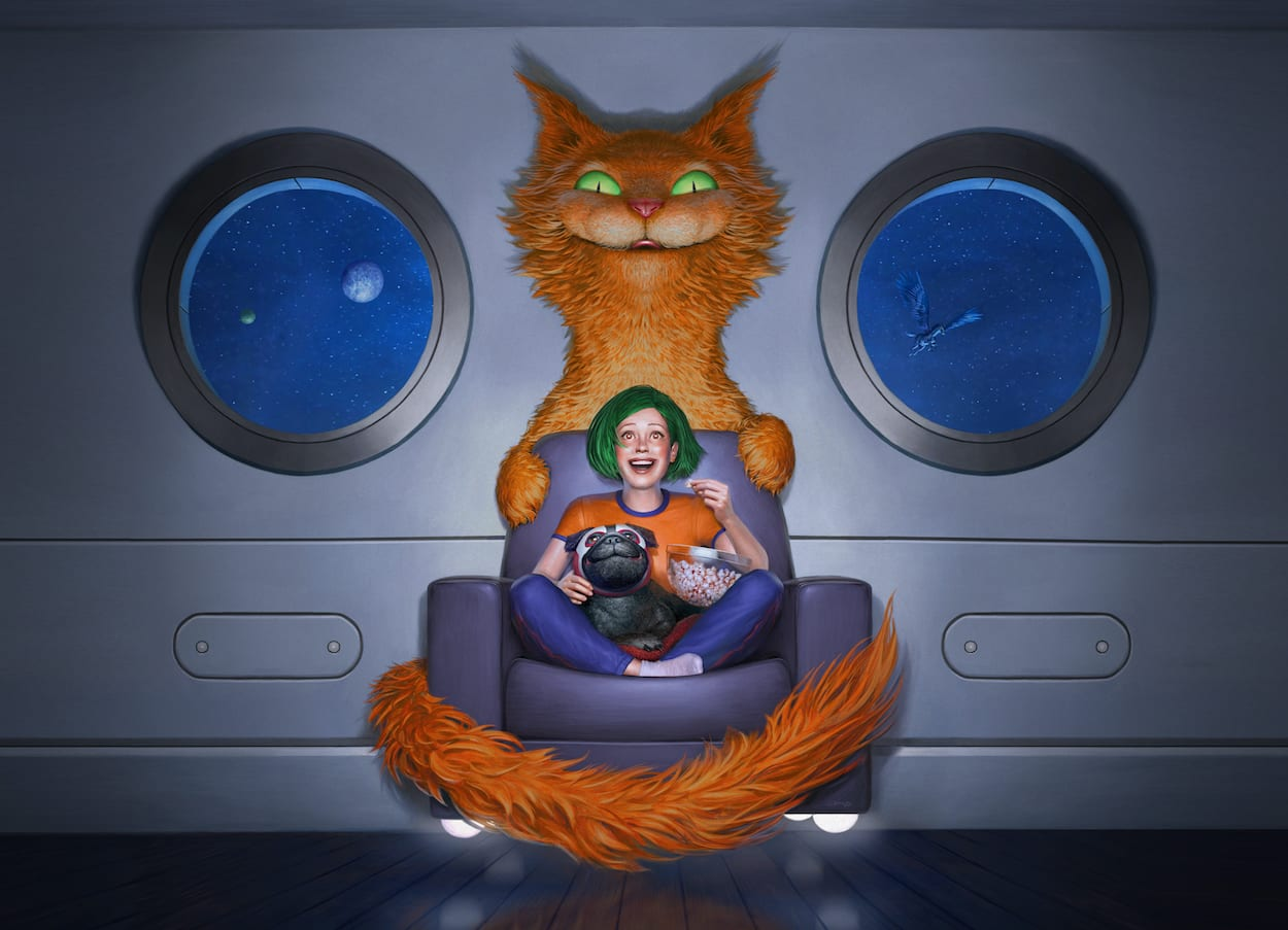 Logo for Fantasia International Film Festival 2020, with a girl sitting in a giant cat chair.