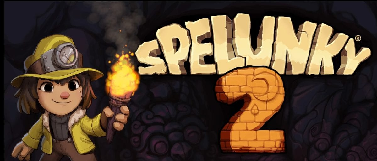 Spelunky 2 title screen with young explorer Ana holding a torch.