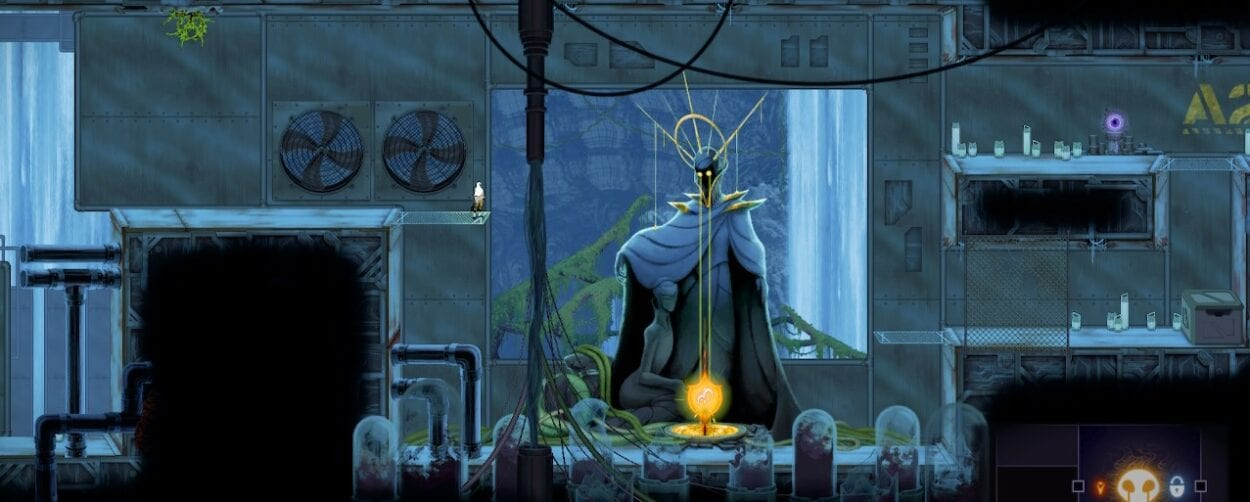 Art for Sundered shows a statue with a regal halo