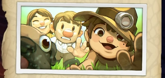 Spelunky Guy and his wife, Tina, chase after Tina (wearing dad's hat) next to her dog.