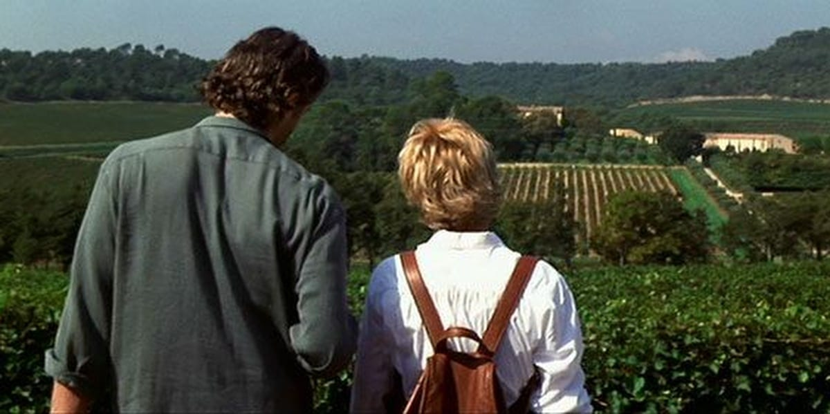 Kate and Luc in vineyard, looking over the land