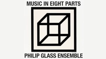 Album cover for Philip Glass Ensemble's recording of Music in Eight Parts: a reproduction of a three-dimensional box in a minimalist art style by Sol Lewitt